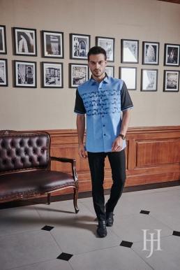 short sleeve shirt blue and black