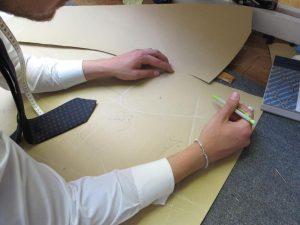 design untuk pembuatan jas, pattern making penggambaran pada kain